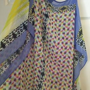NWOT Versona multi color poncho type blouse